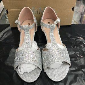 Girls short heels sparkle strap heels 9-4